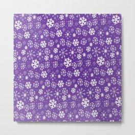 Snowflake Snowstorm With Purple Background Metal Print