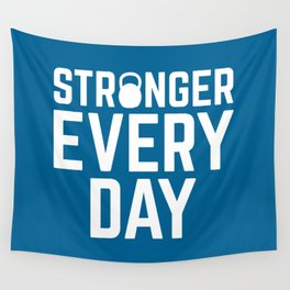 Stronger Every Day Gym Quote Wall Tapestry