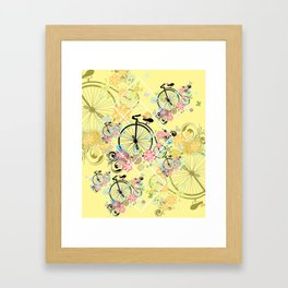 Bicycle with floral ornament Framed Art Print