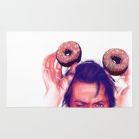 actor Area & Throw Rugs featuring Steve Buscemi and donuts by Thubakabra