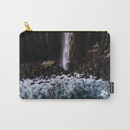 Aerial of Basalt waterfall flowing into the Atlantic ocean on the Isle of Skye - Landscape Photo Carry-All Pouch