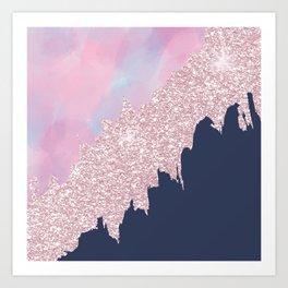 Pink navy blue watercolor brushstrokes glitter Art Print