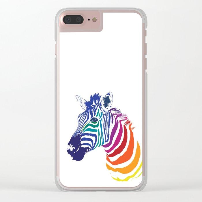 Rainbow Zebra Colorful Animal Clear iPhone Case