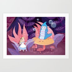Alice In Wonderland and The Caterpillar Art Print