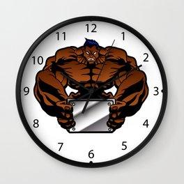 bodybuilder illustration Wall Clock