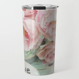 Pink Peonies Shabby Chic Cottage Peony Love Floral Prints Home Decor Travel Mug