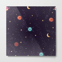 Universe with planets and stars seamless pattern, cosmos starry night sky 002 Metal Print