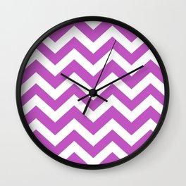 Fuchsia (Crayola) - violet color - Zigzag Chevron Pattern Wall Clock