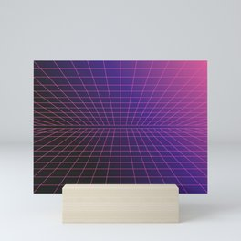 Outrun Grid / 80s Retro Mini Art Print