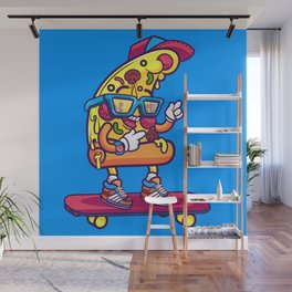 Background of modern pizza slice with skateboard Wall Mural