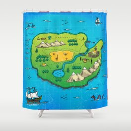 Old pirate's map Shower Curtain