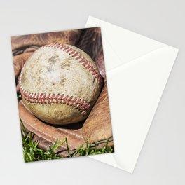 Vintage Baseball in Catcher's Mitt 1 Stationery Cards