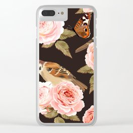 Brown Birds & Butterflies Floral Kingdom Sumptuous Fantasy Flower Pattern Clear iPhone Case