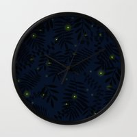 fireflies Wall Clocks featuring Fireflies by Helena's universe