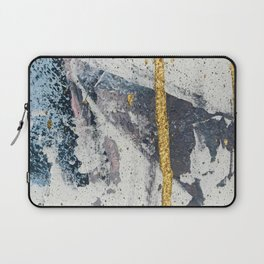 Synergy: a minimal, abstract mixed-media piece in gold, blue, and purple by Alyssa Hamilton Art Laptop Sleeve