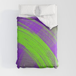 Delicate pillars of violet light from monochrome flowing lines on a satin fabric Comforters
