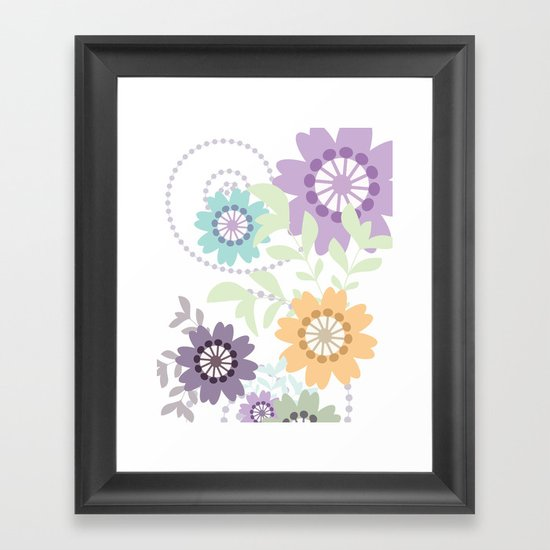 Flowers and Swirls Framed Art Print