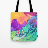 ponyo Tote Bags featuring Ponyo by Jen Bartel
