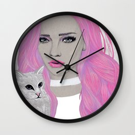 Pink & Kitten Wall Clock