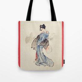 Geisha by Katsushita Hokusai Tote Bag