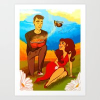 pushing daisies Art Prints featuring I'm pushing up my daisies for you by Rahciach