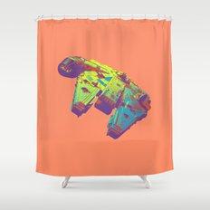 Pop Millennium Falcon On Coral Shower Curtain