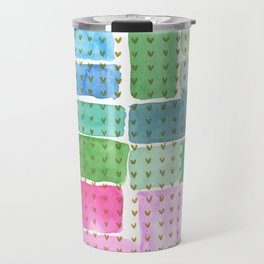 Abstract with holden hearts Travel Mug