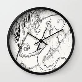 Curious Coconut Octopus Wall Clock