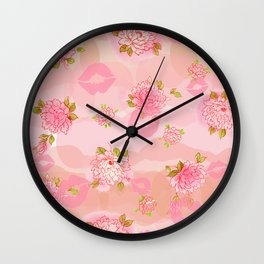 Peonies n kisses Wall Clock