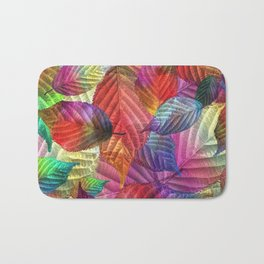 Coloured Leaf Collage Bath Mat