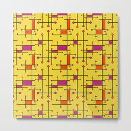 Intersecting Lines in Orange, Hot Pink on Yellow Metal Print