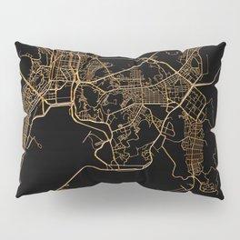 Black and gold Busan map Pillow Sham