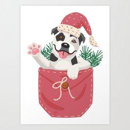 Christmas Pocket Puppy - Pitbull Art Print