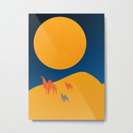 Arabian nights, a Mother camel leads her young through the night Metal Print