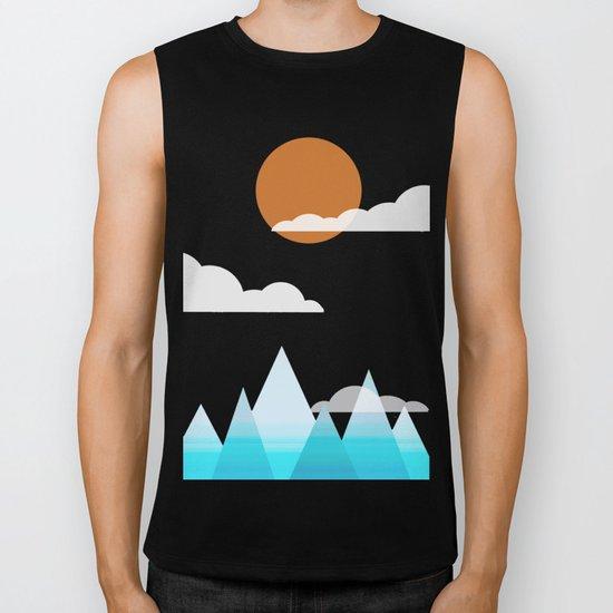Sun, Clouds and Mountains Biker Tank
