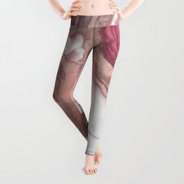 Rose Gold Pink White Painted Girly Abstract Marble Leggings