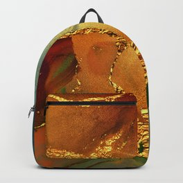 Abstract Gold and Blue Hues Glitter Paint Texture Backpack