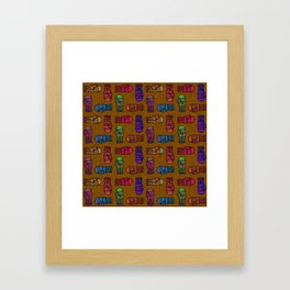 COLORFUL MITTENS ON MUSTARD YELLOW Framed Art Print