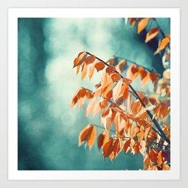 Teal Orange Nature Photography, Turquoise Aqua Burnt Orange Leaves Branches Art Print
