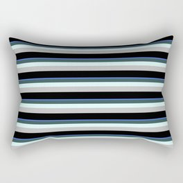 Eye-catching Royal Blue, Dark Slate Gray, Light Cyan, Grey & Black Colored Striped Pattern Rectangular Pillow