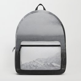 Foggy Mountains and Trees by a Lake Backpack