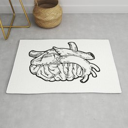 Heart Brain (white) Rug