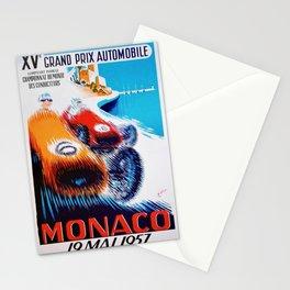 1957 Grand Prix de Monaco Auto Racing Vintage Poster Stationery Cards