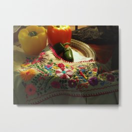 Puebla Blouse and Peppers Metal Print
