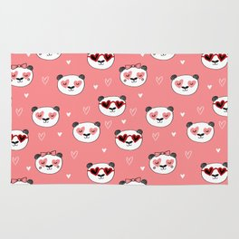 Panda Valentine's day animal love cute heart glasses valentine gifts Rug