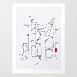 Telegraph pole forest. Art Print