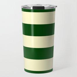 Dark Emerald Green and Cream Large Stripes Travel Mug