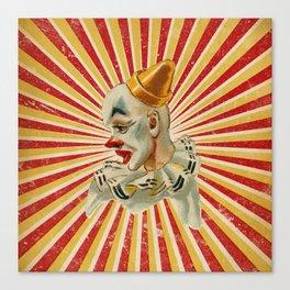 Scary vintage circus clown Canvas Print