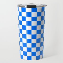 White and Brandeis Blue Checkerboard Travel Mug