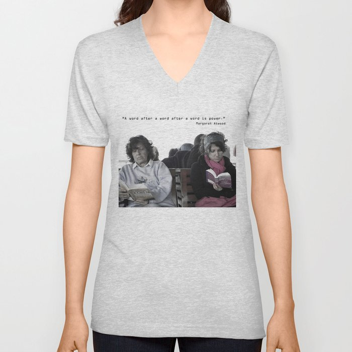 """""""A word after a word after a word is power.""""   Unisex V-Neck"""